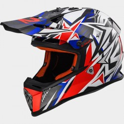 Каска кросов шлем LS2 MX437 FAST STRONG WHITE RED BLUE