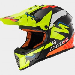 Каска кросов шлем LS2 MX437 FAST VOLT BLACK YELLOW ORANGE