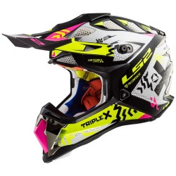 Каска кросов шлем LS2 MX470 SUBVERTER TRIPLEX BLACK PINK YELLOW