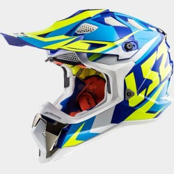 Каска кросов шлем LS2 MX470 SUBVERTER Nimble White Blue H-V Yellow