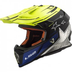 Каска LS2 MX437 FAST CORE MATT BLACK HI VIS YELLOW