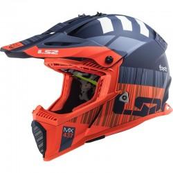 Каска кросов шлем LS2 MX437 FAST EVO XCODE MATT FL.ORANGE BLUE
